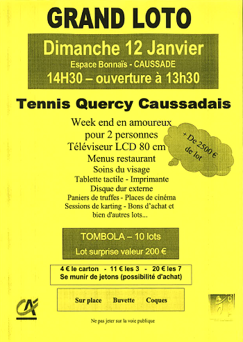 Illustration pour « Grand Loto Tennis Quercy Caussadais »